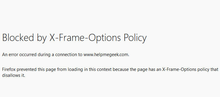 Blocked by X-Frame-Options Policy