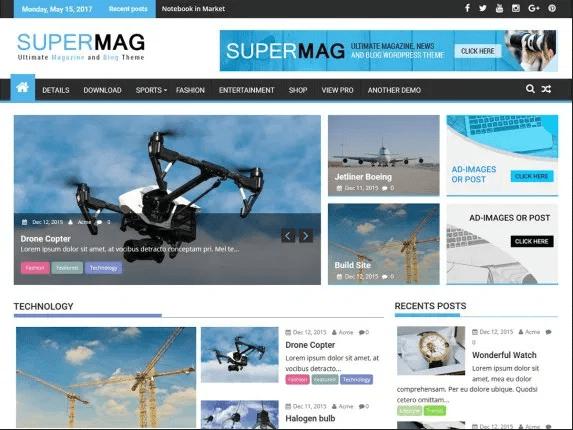 SuperMag free WordPress theme