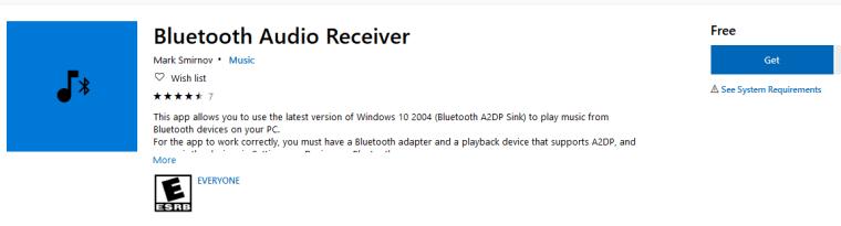 Aplicația Bluetooth Audio Receiver