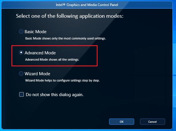 Intel graphics advanced mode