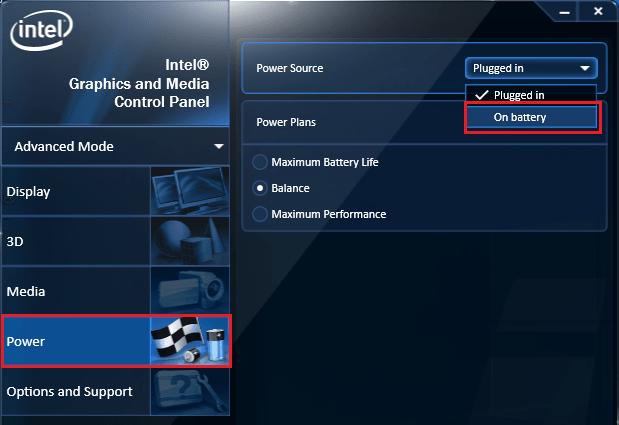 Intel power settings