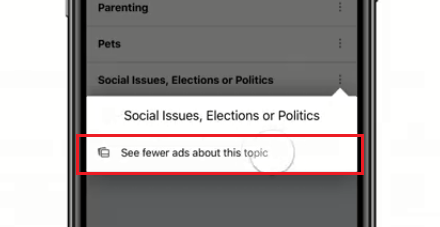 see fewer ads on topic
