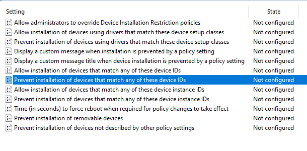 Prevent installation of devices