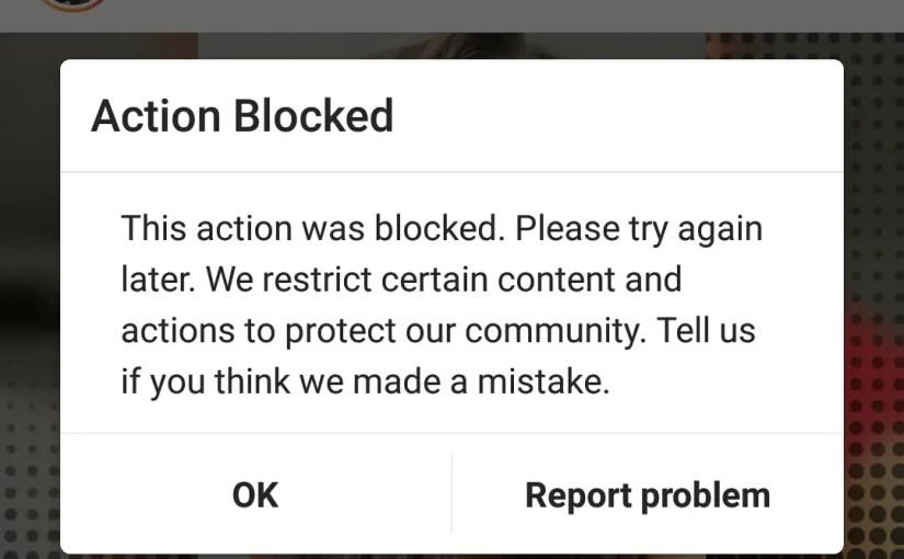 How to solve Instagram action blocked error?