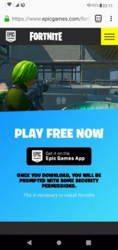 Download and install mobile Fortnite from the Epic store for Android : Download Epic store for Android