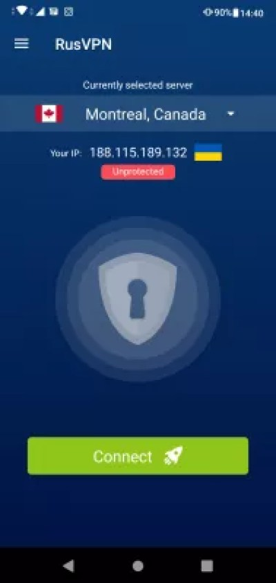 Easy guide: setting up VPN on Android phone with free trial : RusVPN application main screen