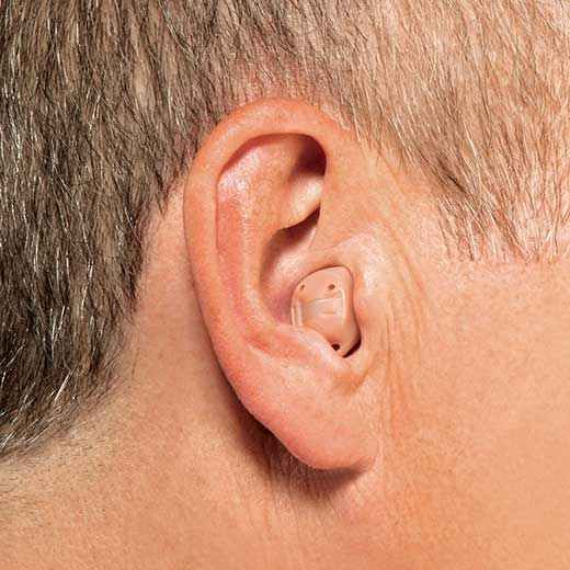 ITC hearing aid in ear