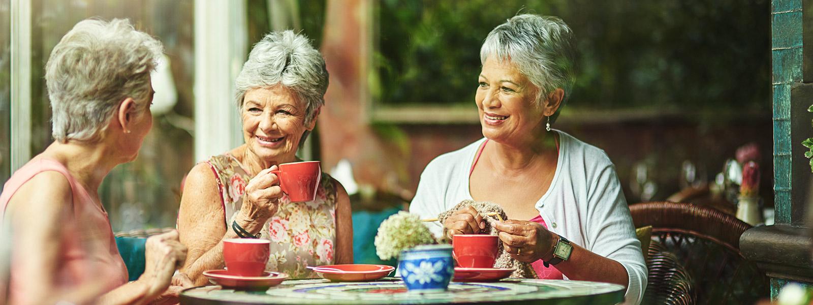 group of older women having fun