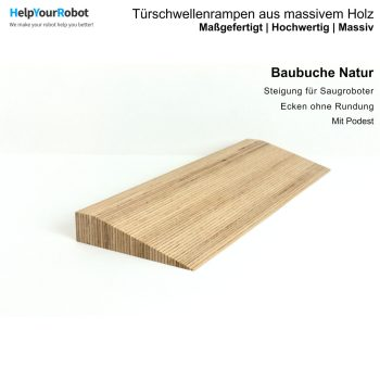 Türschwellenrampen aus Massivholz für Saugroboter - Baubuche Natur