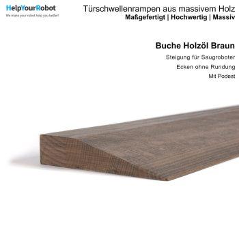 Türschwellenrampen aus Massivholz für Saugroboter - Buche mit Holzöl (braun)
