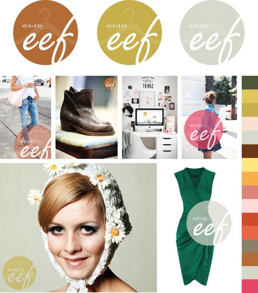 Logo en stijlboek kleurenkaart voor Styled bij Eef ontwerp hemelsblauw