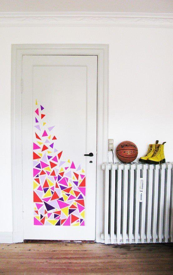 deur versieren washi tape hemelsblauw
