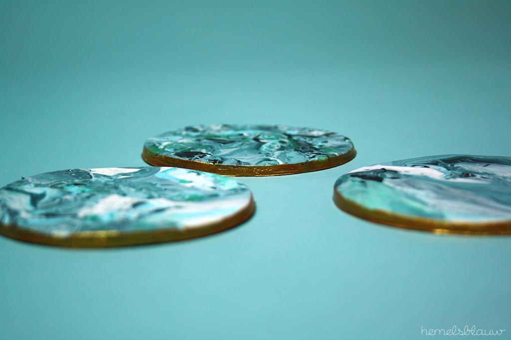 gemarmerd aardewerk onderzetters hemelsblauw