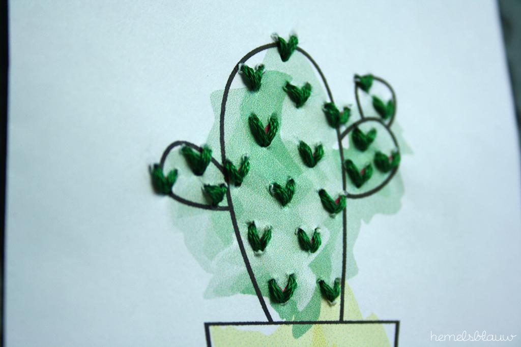 cactus diy borduurkaart hemelsblauw