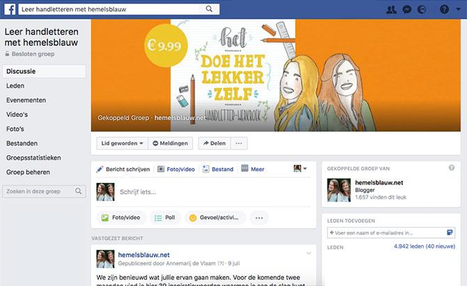 facebookgroep gratis inspiratie en resultaten delen leer handletteren met hemelsblauw