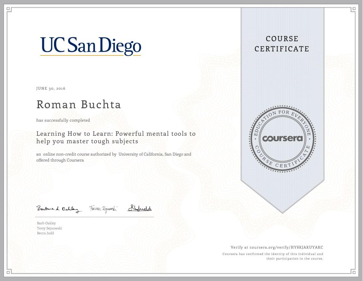 Certificat-mooc-coursera-Learn-how-to-learn-Roman-Buchta