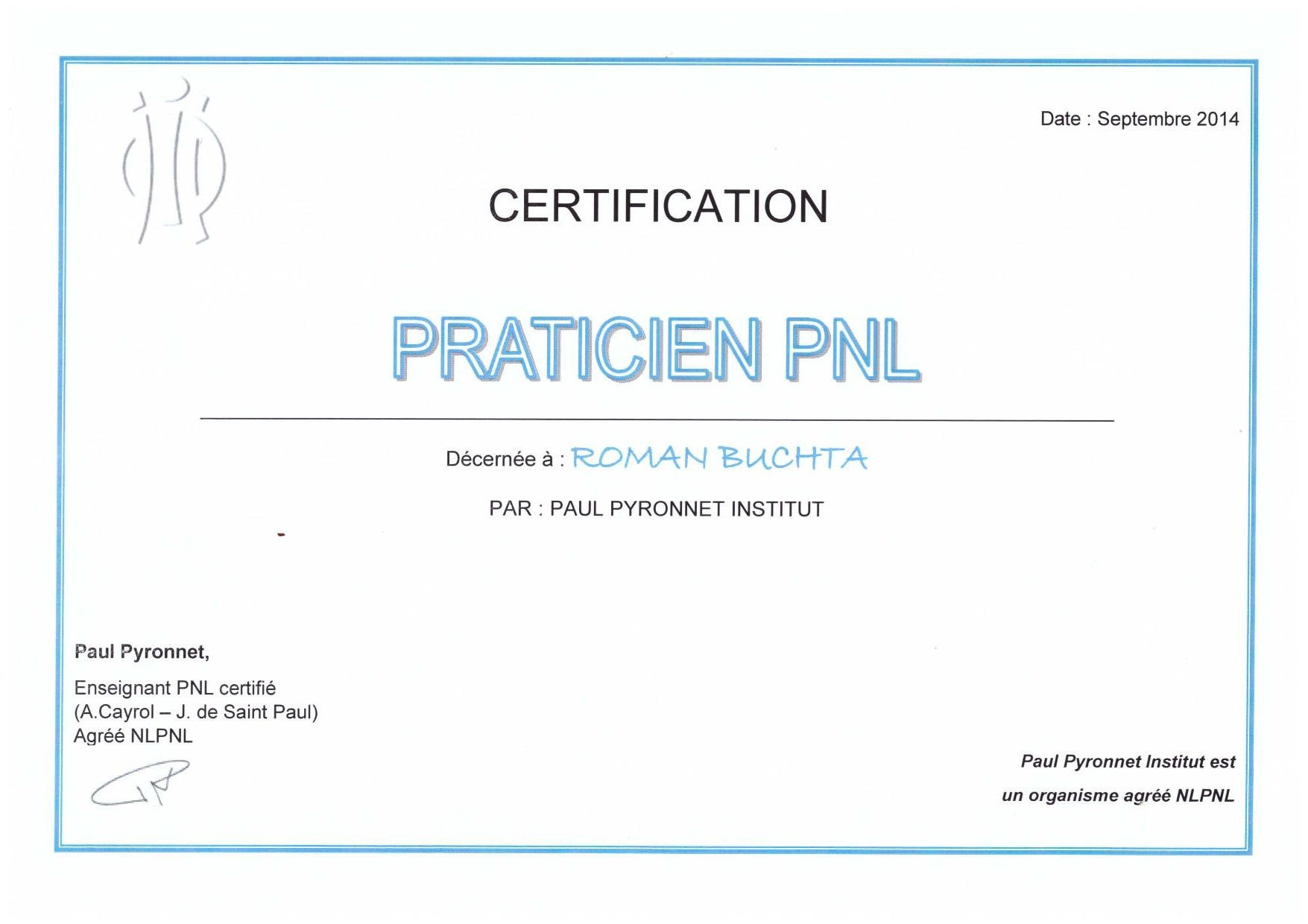 Certification-Praticien-Programation Neurolinguistique-Roman-Buchta