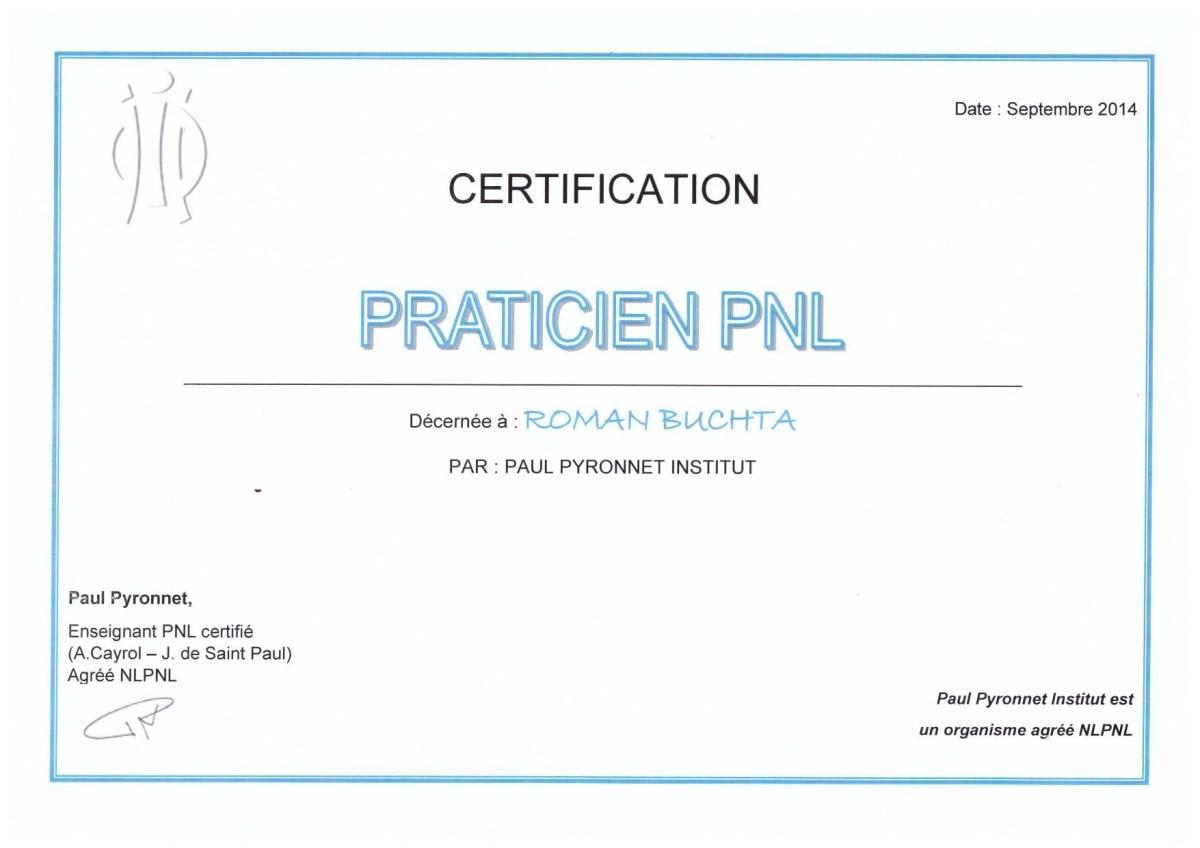 Certification-Praticien-Programation Neurolinguistique-Roman-Buchta
