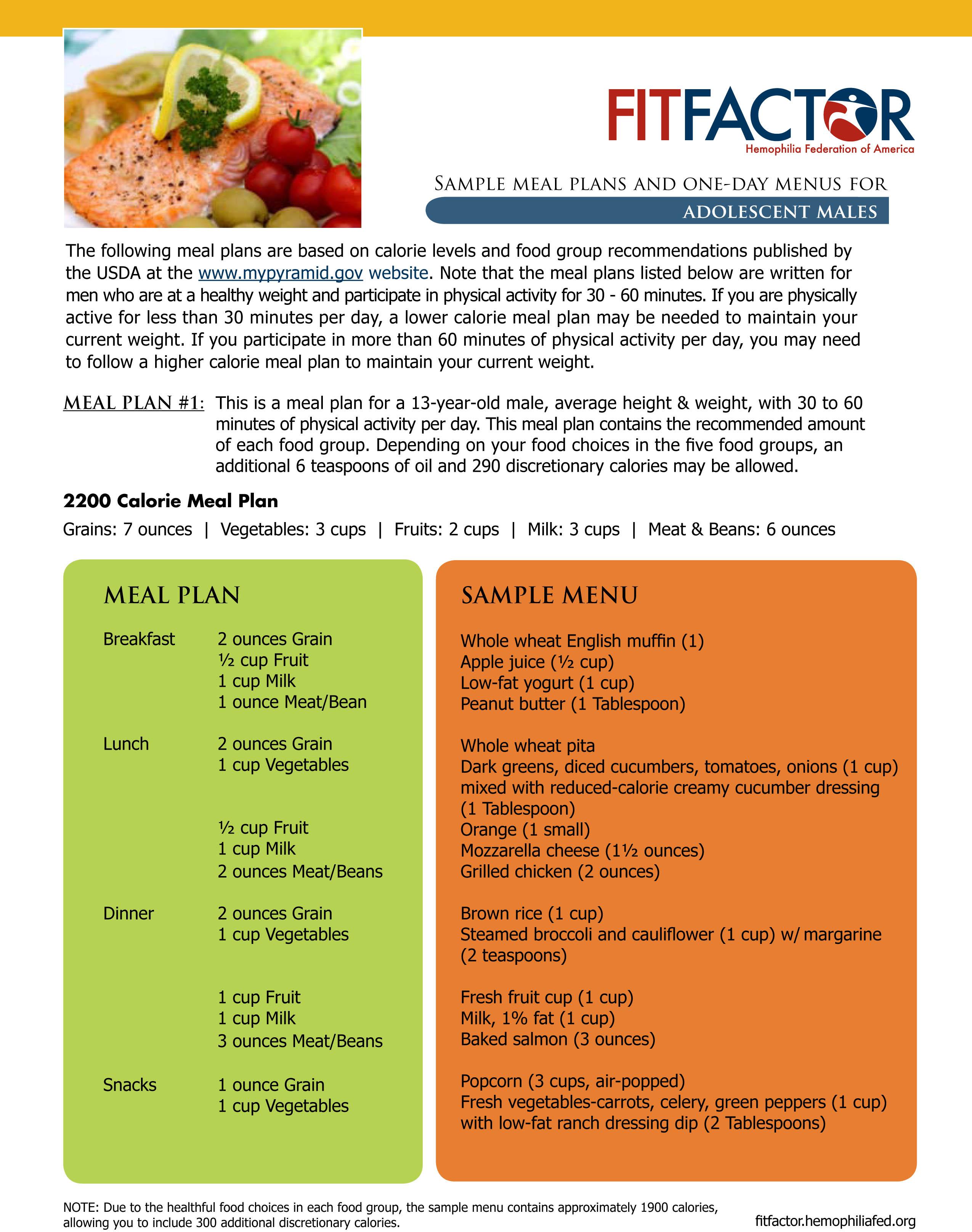 Adolescent Nutritional Plans Amp Sample Menu