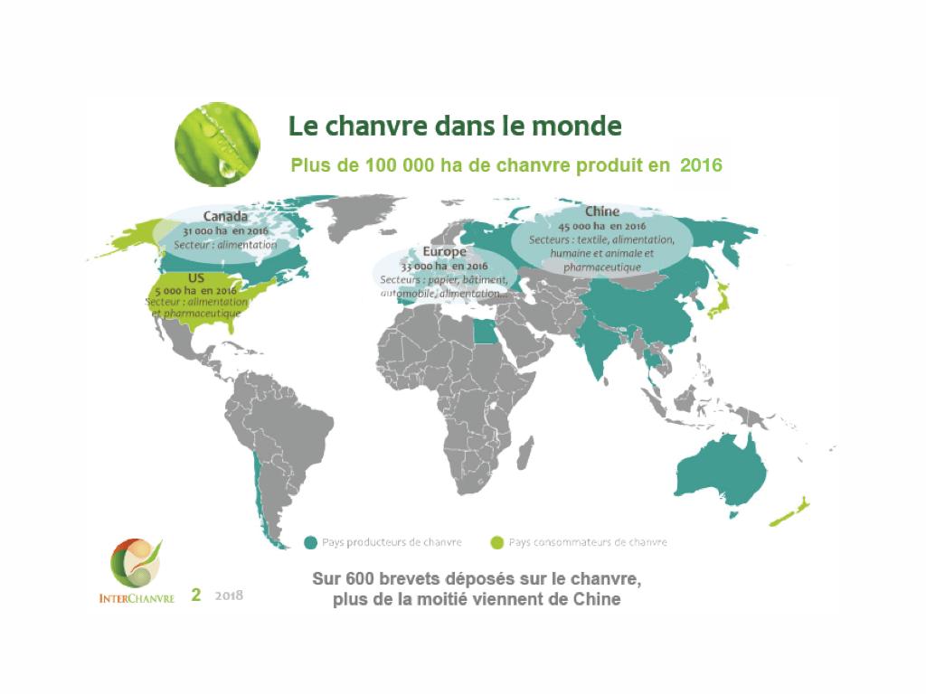 Cette carte produite par Interchanvre (l'association française du chanvre) présente la production mondiale de 2016.