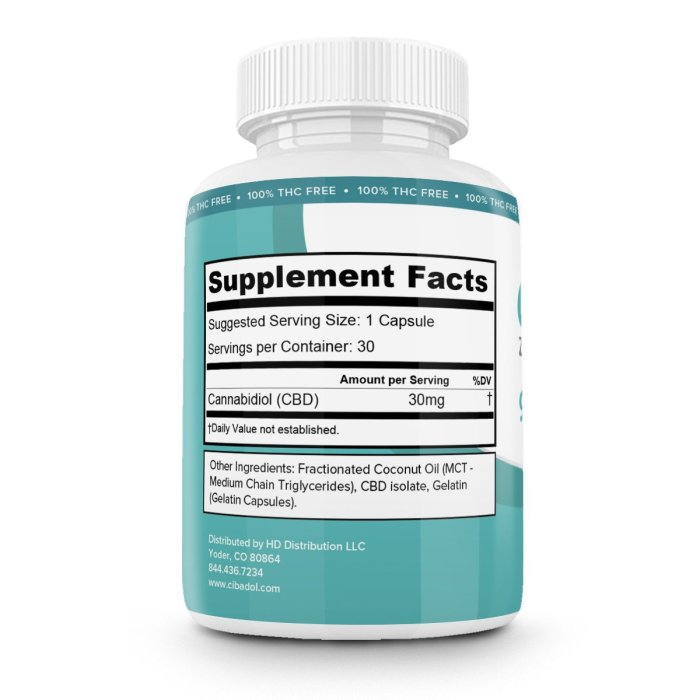 Cibadol ZERO – THC FREE Softgel CBD Pills