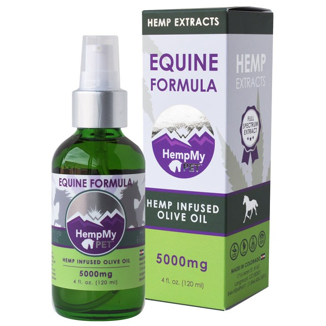 Equine - Certified Organic Olive Oil Infused with Organically Grown Colorado Hemp Extract High in CBD, CBC, and CBG for Horses - 5000mg (4 fl. oz. bottle) Full Spectrum
