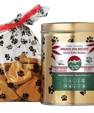 Hemp Dog Treats - 2mg CBD ea, Organic, Small Dog Formula, Peanut Butter Banana