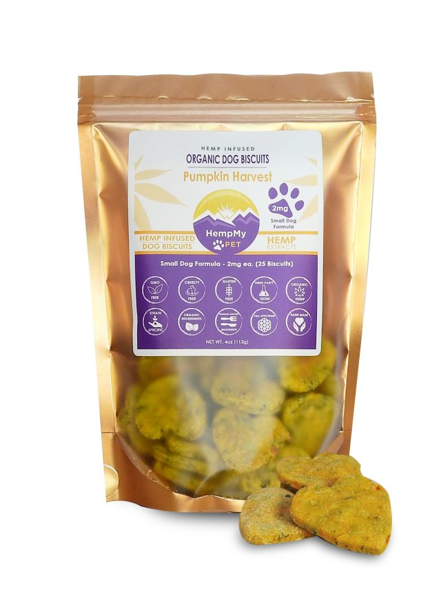 Organic Dog Biscuits - Infused with Organically Grown Colorado CBD Hemp Extract - Handmade Small Dog Formula 2 mg - Pumpkin