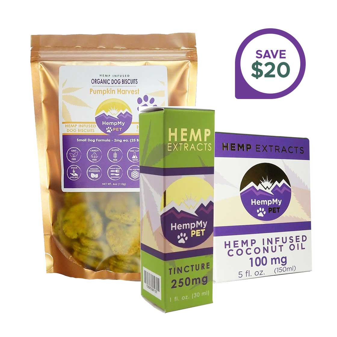 Hemp Wellness Bundle - CBD Infused, Organic - Small Dog Formula