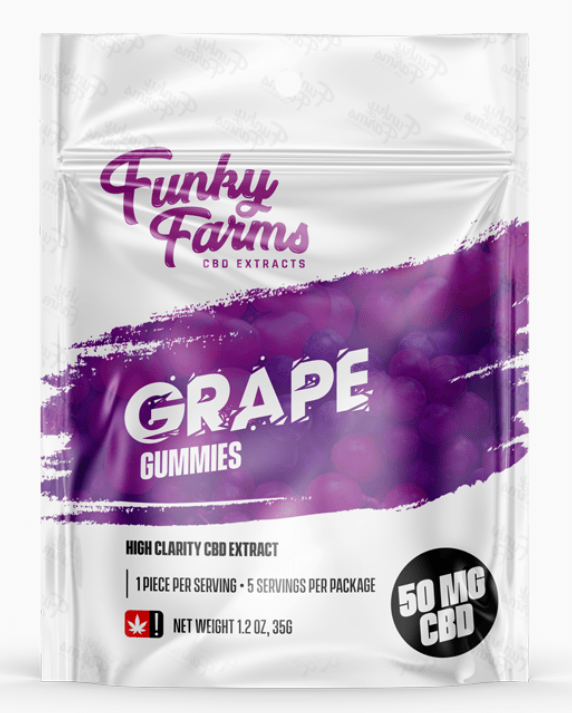 Funky Farms CBD: Grape Gummies featuring 10mg of CBD in EACH Gummy!