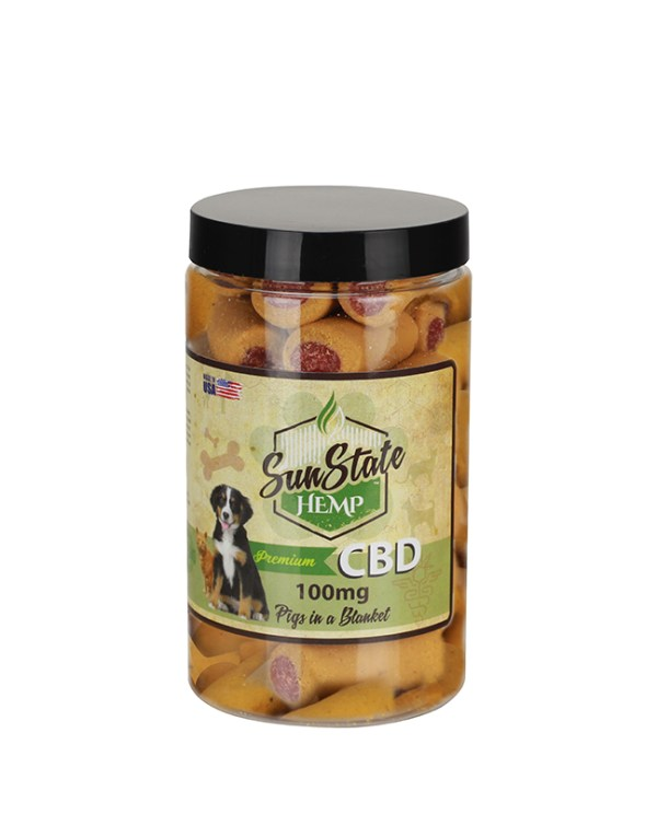 CBD enriched 100mg per jar treats for your furry friend, Dogs love Pigs in Blanket treats