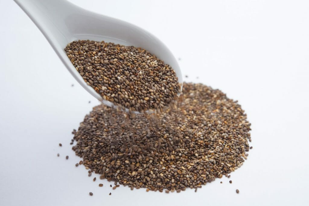 Hemp seeds with spoon