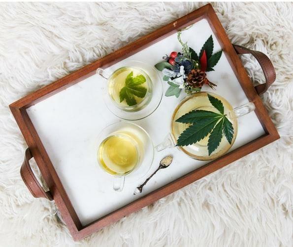 CBD tea on adining platter.