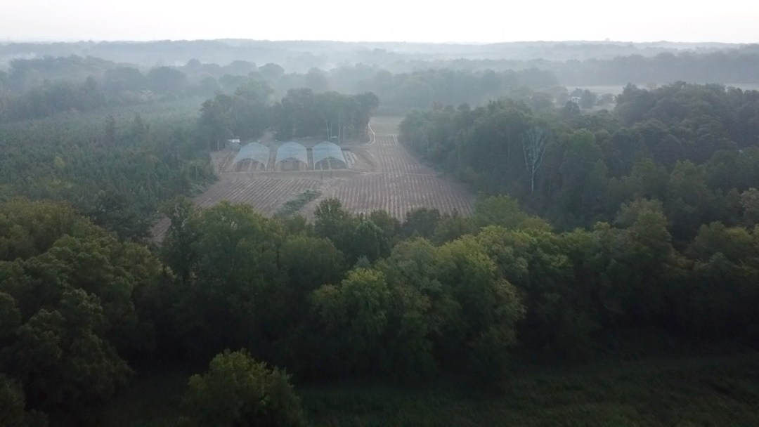 Aerial shot of our charmed farm!