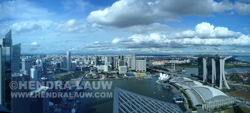 Marina Bay Panorama with Puffy Clouds