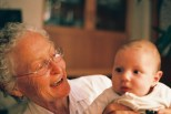 Perhaps an example of what Ken Barris in his talk referred to as 'transgenerational something': Iñaki Mentz with his grandma: Janice Mentz   photo credit: Tony Carr shooting with film (non-digital)