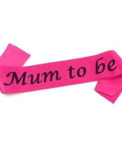 Hot Pink Mum to Be Sash