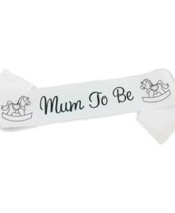White Mum to Be Be Sash
