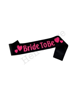 Black Bride to Be Sash with Pink Hearts