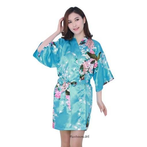 Peacock Print Blue Robe