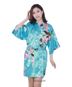 Peacock Print Blue Robe