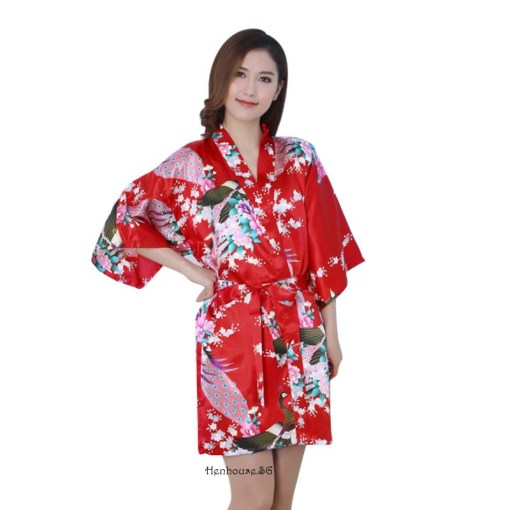 Peacock Print Red Robe