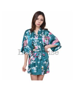 Peacock Printed Dark Green Robe