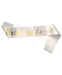Gold on White Bride to Be Sash