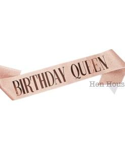 Rose Gold Glitter Birthday Queen Sash