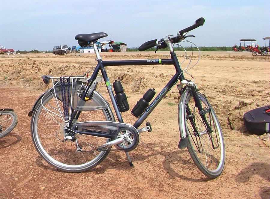 De fiets is schoon voor vertrek naar huis