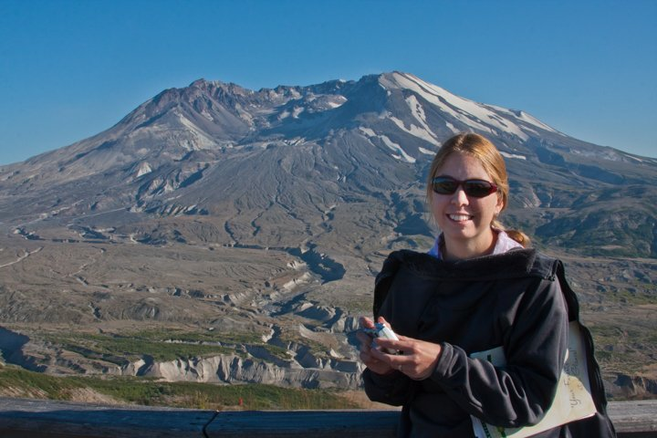 I used as high of an f/stop I could so that both my wife and Mount St. Helens were in focus.