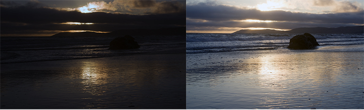 As long as the shutter is open, those light values will keep going up. This turns a sunset photo into a beach photo.