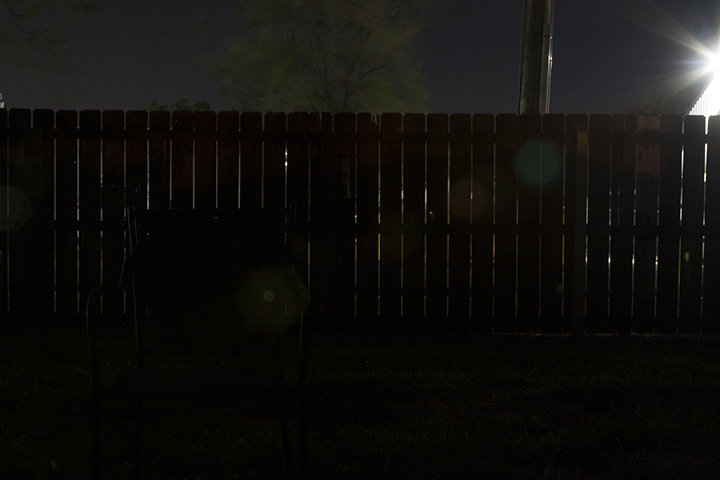 ISO - 200 f/7 25 seconds This photo exposes the night sky behind the fence but my foreground is mostly black.