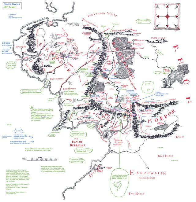 transcribed map 991x1024 Карта Средиземья с аннотациями Толкина расшифрована!